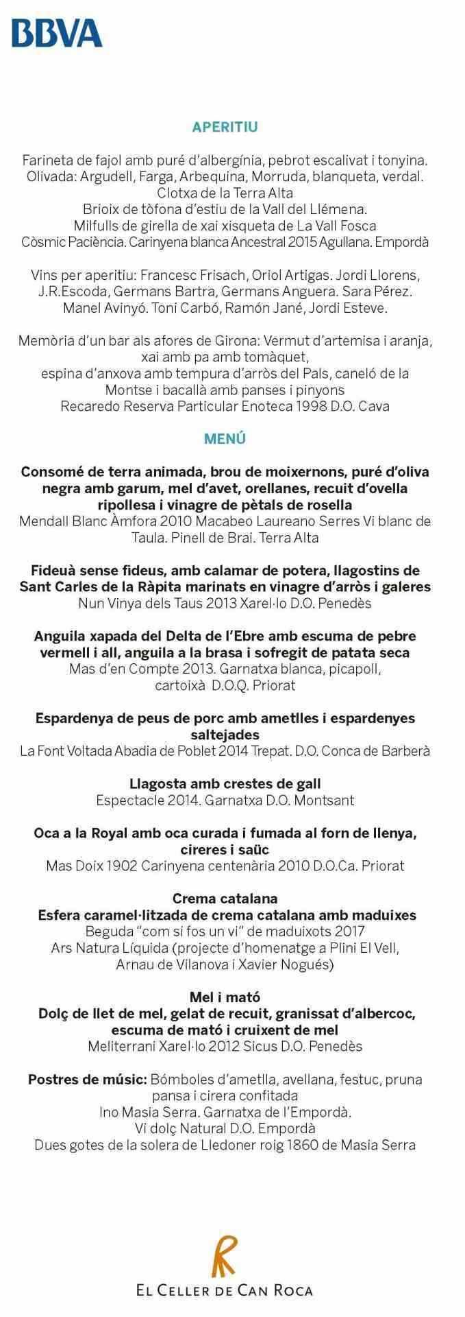 Menú gira Roca BBVA Barcelona