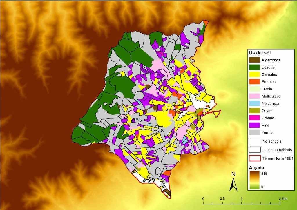 Mapa d'usos del sòl del municipi d'Horta del 1861. Font: Alexandre Nobajas i Francesc Nadal.